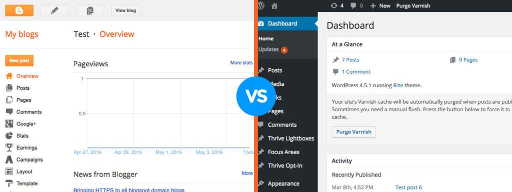 blogger vs wordpress panels